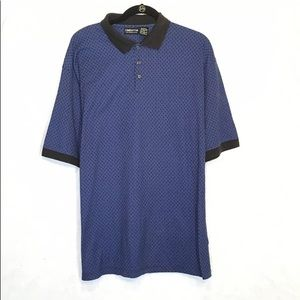 Claiborne L Large Shirt Blue Abstract Cotton Polo